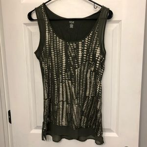 Olive green and gold foil tank top
